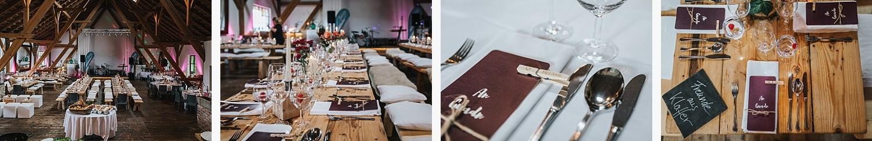 freie Trauung auf Gut Aichet, Detailaufnahmen der Tischdeko