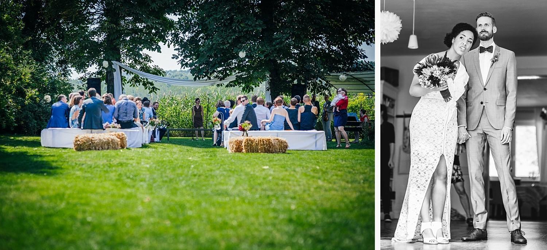 Hochzeit in Dobbrikow, die Gäste warten auf das Brautpaar, Brautpaar schaut zu den Gästen