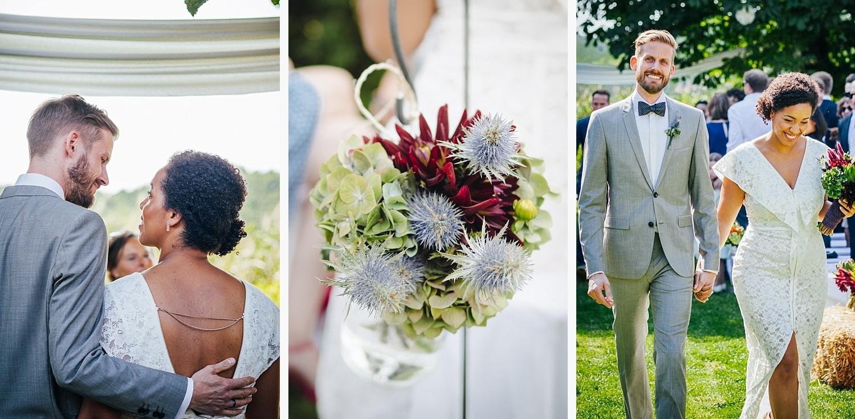 Hochzeit in Dobbrikow, Brautpaar bei freier Trauung, Auszug des Brautpaares und Detailaufnahme von Blumen