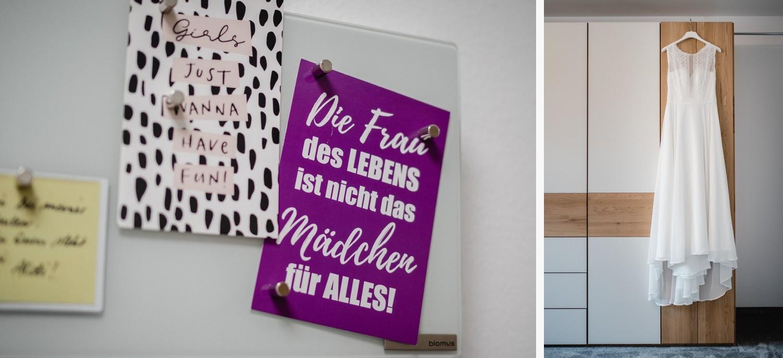 Hochzeit in Bad Birnbach, Getting ready in Osterhofen, Brautkleid und Postkarte