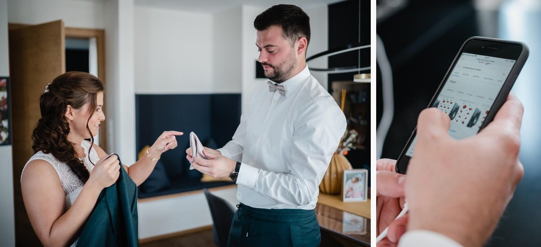 Hochzeit in Bad Birnbach, Getting Ready in Osterhofen, Probleme mit dem einstecktuch und die Lösung via Google