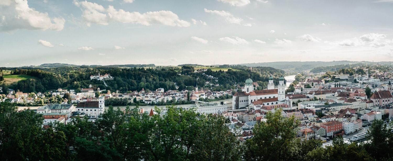 Hochzeit in der Veste Oberhaus Passau, Panoramablick auf die Stadt